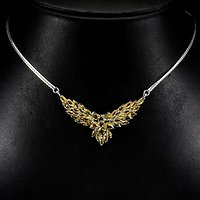 黄水晶银项链 巴西天然黄水晶925银镀14K金项链