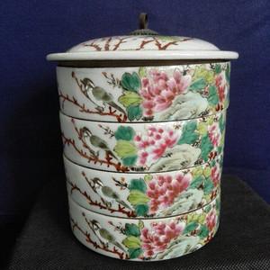 汪眉款富贵白头纹四节瓷食盒