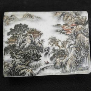 金碧山水人物纹瓷砚
