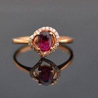 红宝石钻戒 天然缅甸抹谷红宝石镶南非钻石18K金女款钻戒