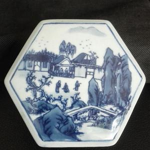 六角型山水纹印盒