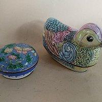 铜胎画珐琅粉盒,鸳鸯盒