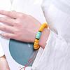 随便设计的一串老蜜蜡手串 搭配绿松石桶珠