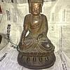 明代:漆金彩绘铜佛像 高33厘米,重7市斤,30多个铭文