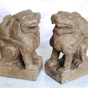 清代文案石雕携子狮子一对