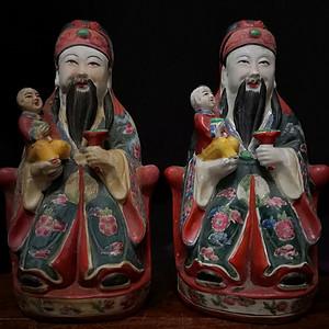 清早期五彩福星瓷雕摆件