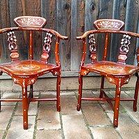 红木嵌螺钿角椅一对