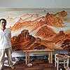 大师手绘大学万里长城瓷板画作品 家居装饰摆件