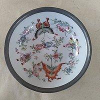 粉彩蝴蝶花卉纹包金属小盘