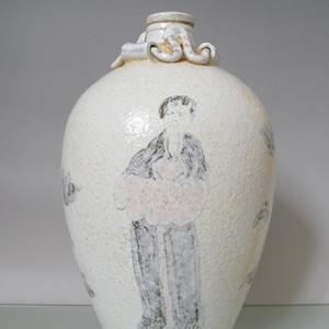 宋代景德镇窑大宋淳化年制款青花釉里红人物纹原装酒瓶