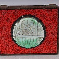 玉石景泰蓝红色落地矩形盒