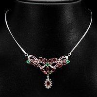 红宝石祖母绿银项链 天然红宝石祖母绿925银镀14K金项链