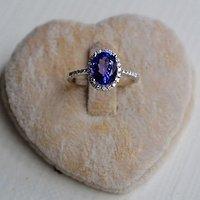 坦桑石钻戒 天然坦桑石镶南非钻石18K金女款钻戒