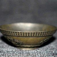 铜制银镀 龙纹碗 宣字在铭