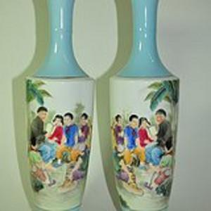 90年代仿文革题材瓷瓶一对